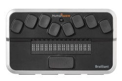 Dispositivo con 8 teclas Braille y display con 14 caracteres de color negro y gris